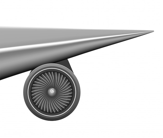 Ala piana con il concetto della turbina del motore
