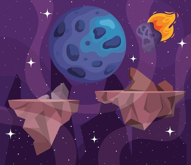 Illustrazione del pianeta e degli asteroidi