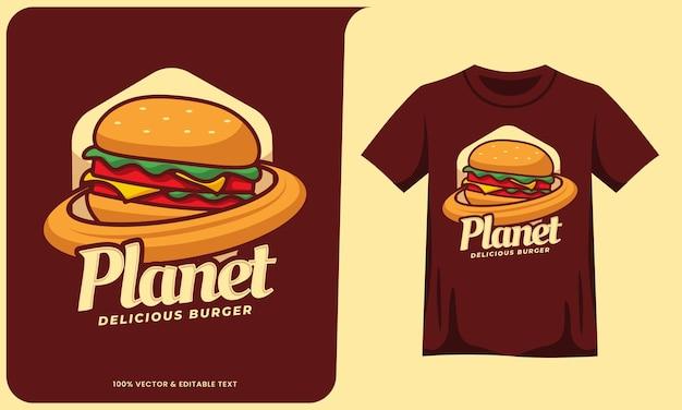 Planet burger cartone animato cibo logo effetto testo e design t-shirt