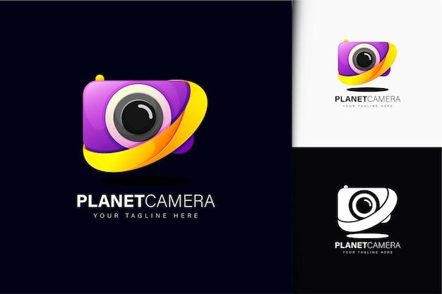 Design del logo della fotocamera del pianeta con gradiente