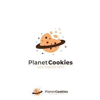Logo dei biscotti del pianeta con biscotti morsi e illustrazione del simbolo dell'icona dell'anello del pianeta