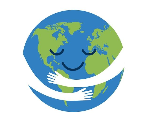 Pianeta terra in mano protezione cura in abbraccio salva ambiente ecologico cura natura sicurezza mondo