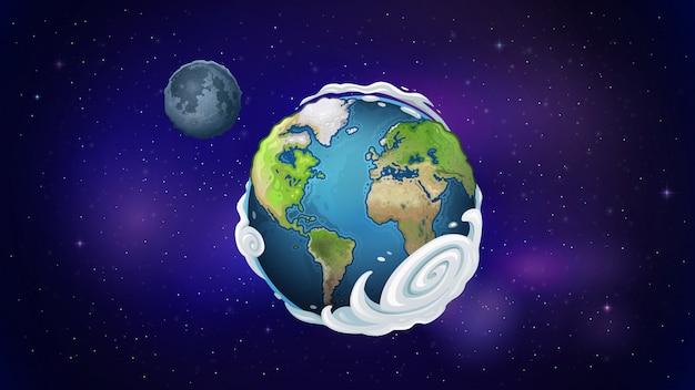 Pianeta terra e luna nello spazio