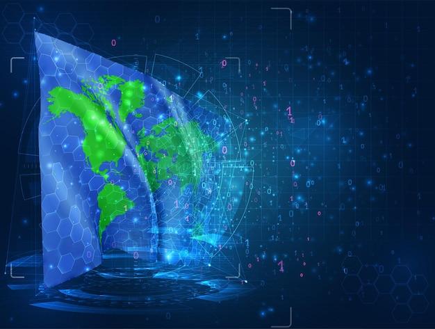 Bandiera 3d di vettore del pianeta terra su sfondo blu con interfacce hud