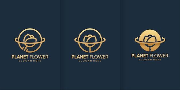 Modello di logo fiore pianeta con stile dorato