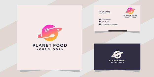 Modello logo cibo pianeta