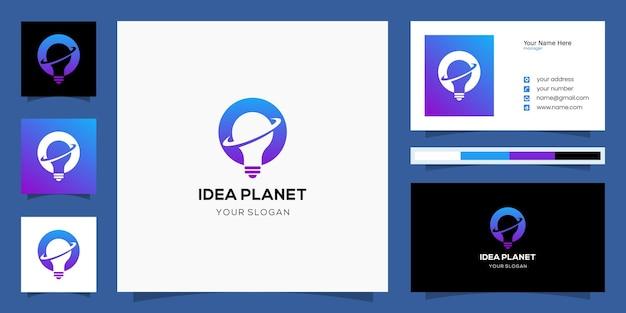 Modello di logo e biglietto da visita di idea del pianeta