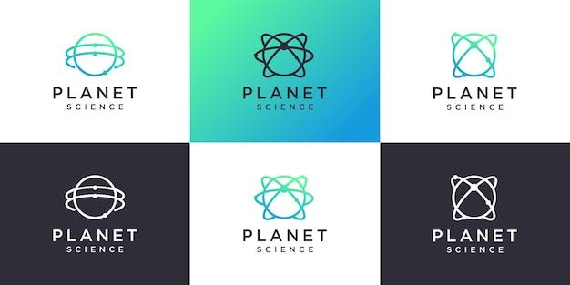 Collezione di logo del pianeta con il concetto di scienza e molecola vettore premium
