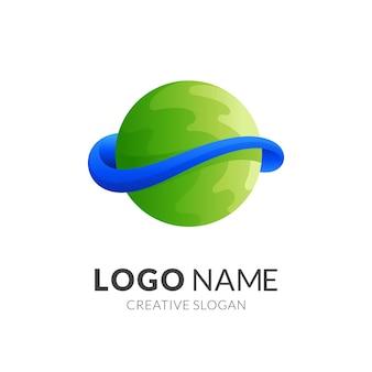Logo di progettazione di logo del pianeta con stile di colore verde e blu 3d