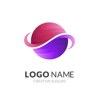 Logo design logo pianeta con stile di colore rosso e viola 3d