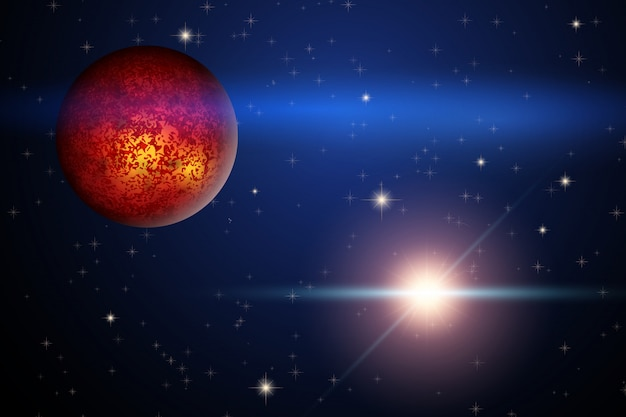 Il pianeta marte e la stella luminosa nello spazio