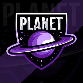 Progettazione del modello esport logo mascotte pianeta