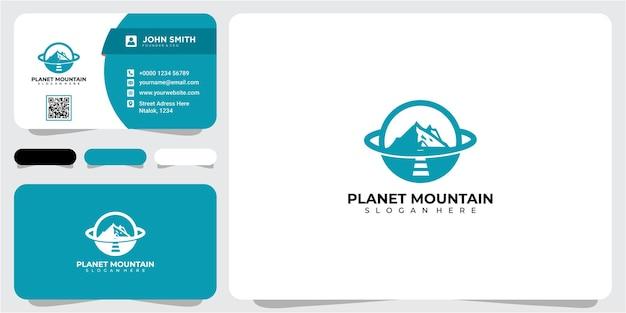 Concetto di design del logo del pianeta montagna avventura. concetto di design del logo del pianeta avventura con biglietto da visita
