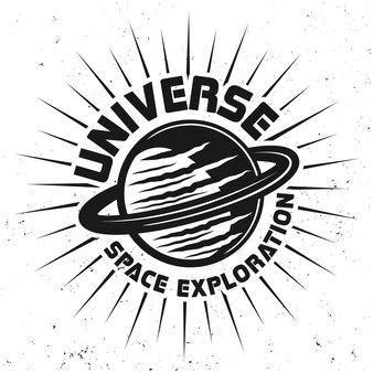 Pianeta saturno con emblema di esplorazione dello spazio dell'universo del testo