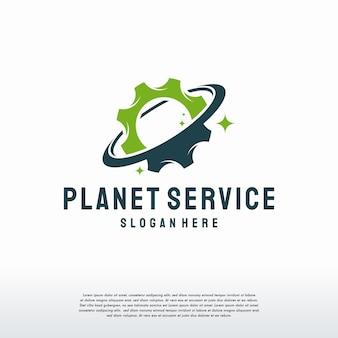Modello di progettazione del logo di planet service, disegni vettoriali del logo di planet gear, logo di ingegneria meccanica