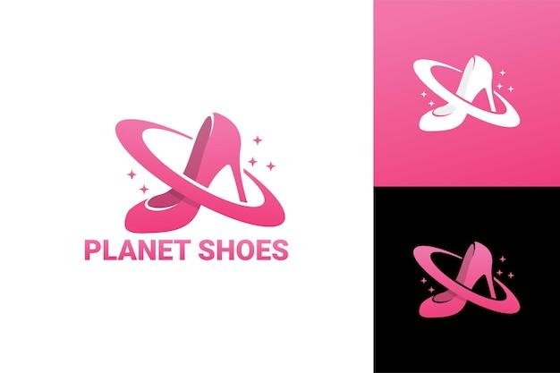 Scarpe pianeta, modello di logo del negozio di scarpe da donna vettore premium