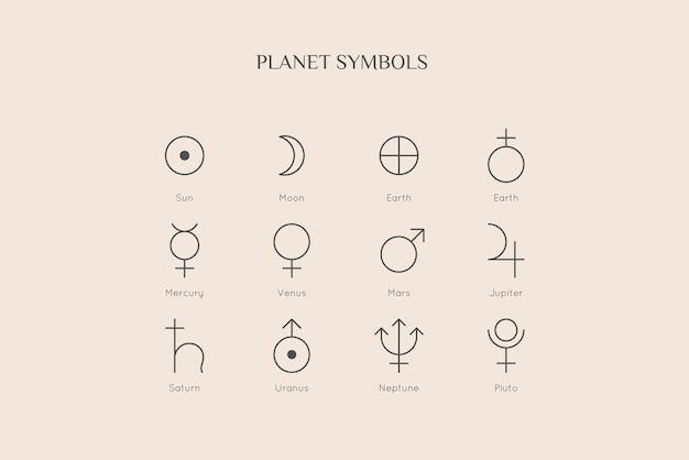 Icone di simbolo del pianeta in stile liner alla moda minimale. segno zodiacale vettoriale: sole, luna, terra, mercurio, venere, marte, giove, saturno, urano, nettuno, plutone per l'oroscopo del calendario del tatuaggio del logo