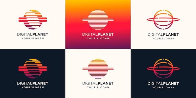 Modello di progettazione di logo di tecnologia del pianeta