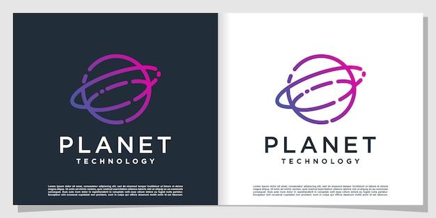 Logo della tecnologia del pianeta con un concetto moderno e creativo vettore premium
