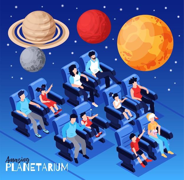 Spettacolo straordinario del cielo stellato del planetario con grande galleggiante colorato sopra la composizione isometrica dei pianeti dei visitatori