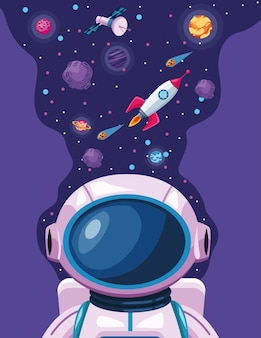 Pianeti e astronauta con illustrazione della scena dell'universo spaziale del razzo