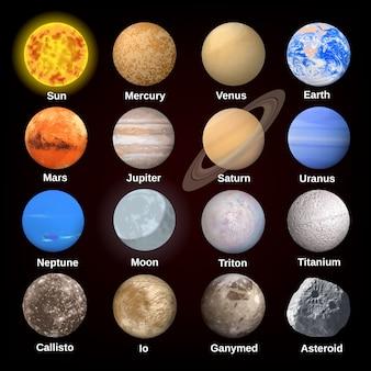 Set di icone pianeti