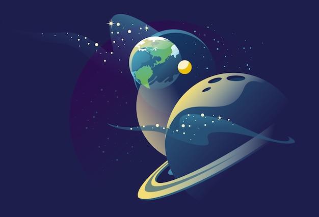 Pianeti nello spazio esterno con i satelliti galaxy cosmo universo futuristico vista fantasy sfondo