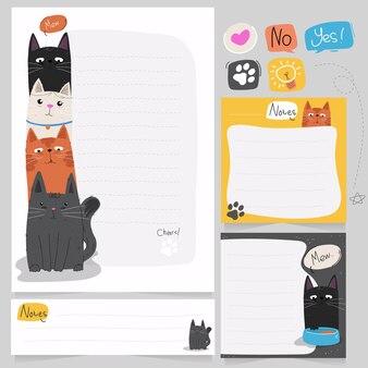 Planner e pacchetto note con tema di illustrazione del gatto carino disegnato a mano