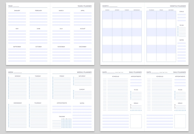 Modelli di pagine di note del pianificatore.