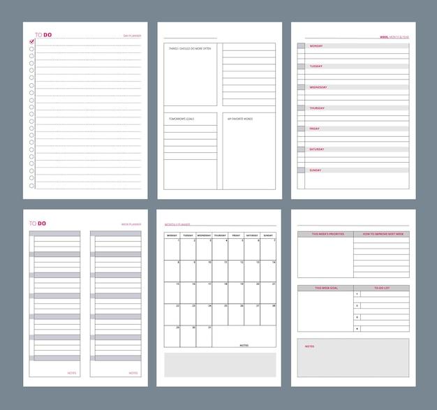 Pagine del pianificatore. notebook agenda diario pagine verticali modello obiettivi organizer