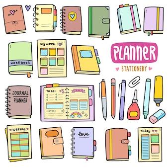 Planner e elementi di grafica vettoriale colorati di cancelleria e illustrazioni di doodle