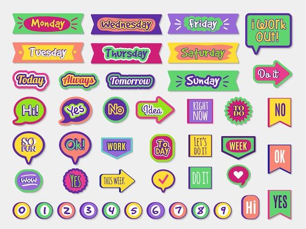 Planner sticky paper organizer etichette badge per agenda notepad lettering alla moda diversi stili impostati. illustrazione memo planner, calendario e adesivi scrapbook organizzatore