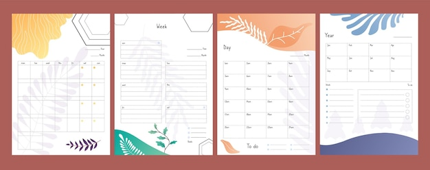 I pianificatori hanno impostato. elenchi di cose da fare, modello di programma settimanale e giornaliero, illustrazione vettoriale del modulo del piano annuale. calendario dell'organizzatore, elenco cartaceo, settimanale e annuale
