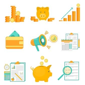 Budget di pianificazione e analisi. soldi nel salvadanaio. icone piatte in blu e giallo. monete e simboli di contanti. affari e finanza. illustrazione vettoriale.