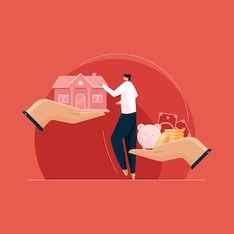 Pianificazione di acquistare immobili concetto di mutuo per la casa vendita acquisto e casa ipotecaria