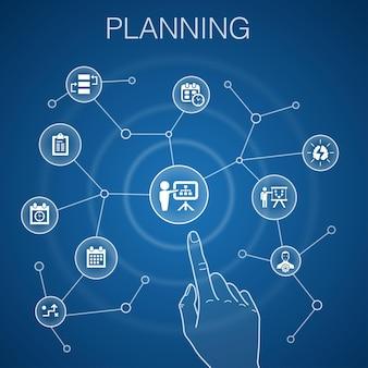 Concetto di pianificazione, sfondo blu. calendario, programma, orario, icone del piano d'azione