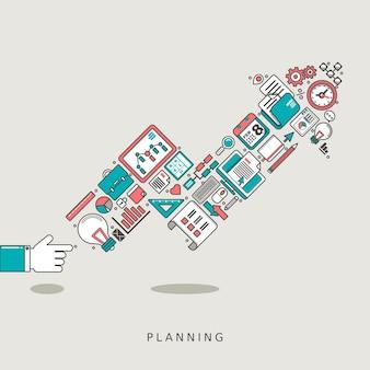 Concetto di pianificazione: freccia crescente composta da icone di affari in stile linea sottile