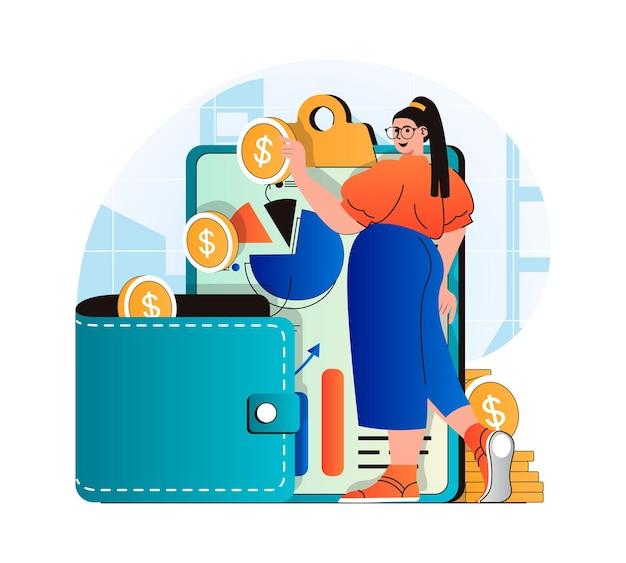 Pianificare il concetto di budget finanziario nella moderna donna dal design piatto analizza le statistiche finanziarie