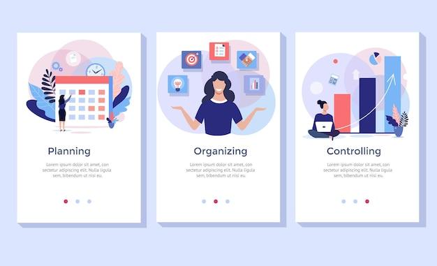 Pianificazione e organizzazione del set di illustrazioni del concetto, perfetto per banner, app mobile, landing page