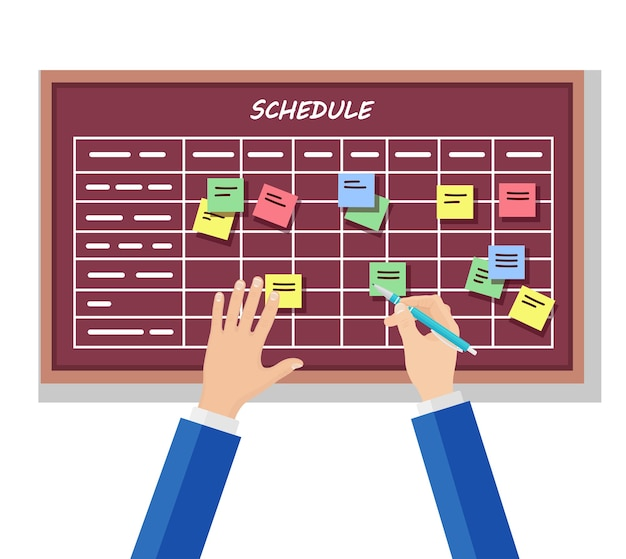 Programma di pianificazione sul concetto di scheda attività. planner, calendario sulla lavagna. elenco di eventi per dipendente. lavoro di squadra, collaborazione, concetto di gestione del tempo aziendale