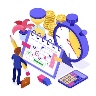 Pianificazione pianificazione del lavoro di pianificazione della gestione del tempo dell'uomo d'affari