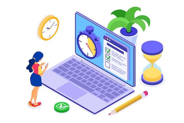 Pianificazione del lavoro di pianificazione della ragazza di gestione del tempo