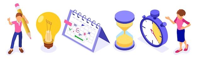 Pianificazione pianificazione della gestione del tempo e pianificazione del lavoro da casa con cronometro seleziona gli obiettivi