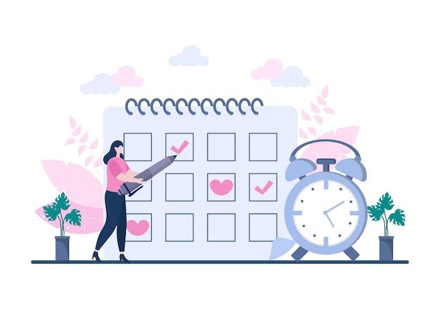 Pianificazione pianificazione o gestione del tempo con riunioni di lavoro del calendario, attività ed eventi che organizzano il processo di lavoro in ufficio. illustrazione vettoriale di sfondo
