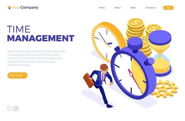 Pianificazione pianificazione o gestione del tempo con clessidra orologio cronometro e uomo d'affari