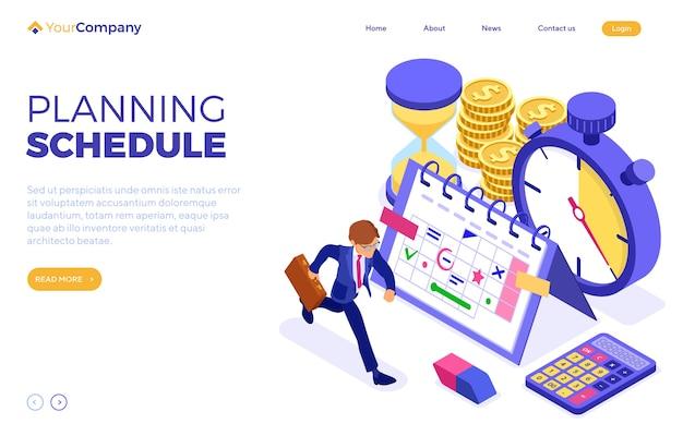 Pianificazione della pianificazione della gestione del tempo con calendario della pianificazione del cronometro
