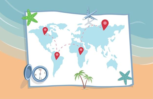Pianificazione di vacanze estive viaggio vettore illustrazione piatta mappa del mondo con