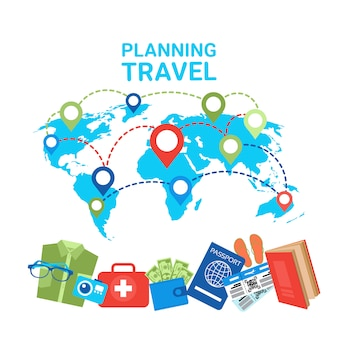 Pianificazione dei puntatori del concetto di viaggio sugli elementi del bagaglio della mappa mondiale