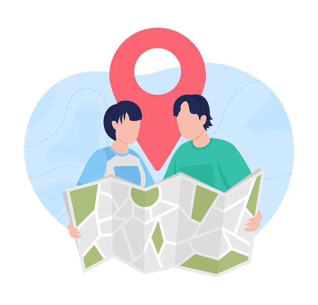 Pianificazione del viaggio con mappa 2d isolata. ricerca di un luogo di vacanza all'estero. coppia di viaggiatori in appartamento