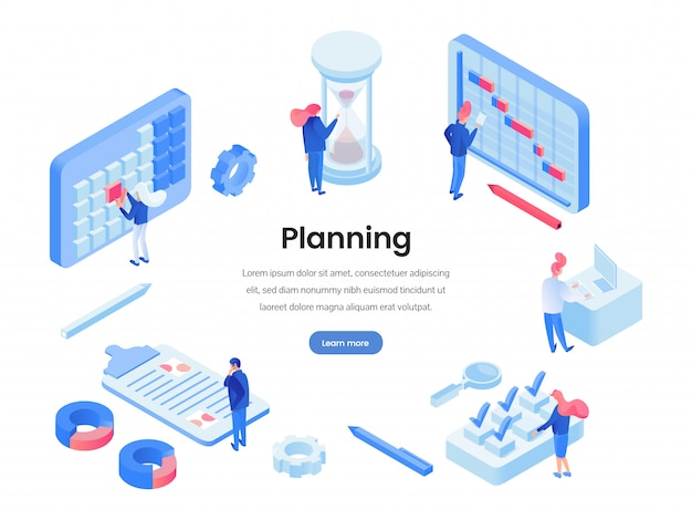 Modello di sito web isometrica di ore di lavoro di pianificazione